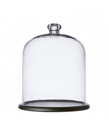 Cloche en verre avec socle en bois