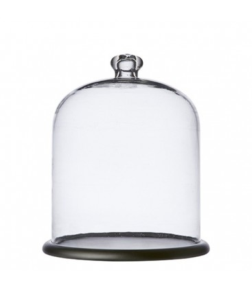 Glass bell with wooden stand