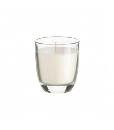 Bougie dans un verre à rayures