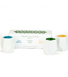 SET OF 3 ABSTRACT VOTIVES CANDLES - BLUE/GREEN/YELLOW