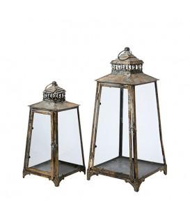 Duo de lanternes dorees en metal