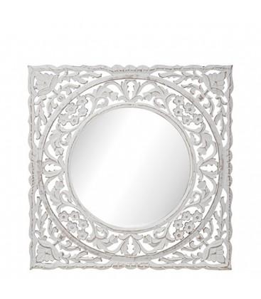 Miroir en bois blanc