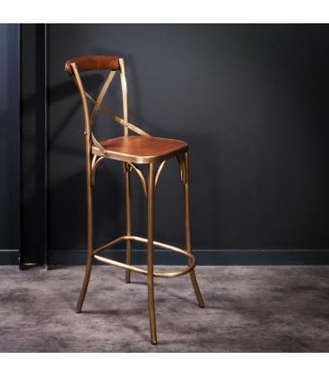 Chaise de bistrot haute finition laiton et cuir