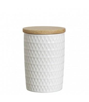 Pot en porcelaine blanc et couvercle LOTTA