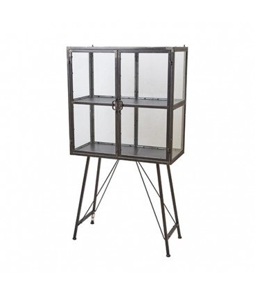 Small cabinet in metal and glass