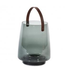 Lanterne en verre avec poignée en cuir