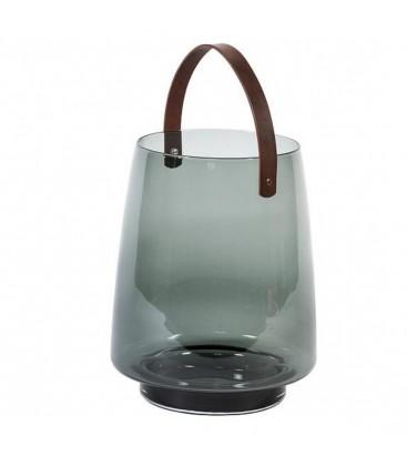 Lanterne en verre avec poignée en cuire