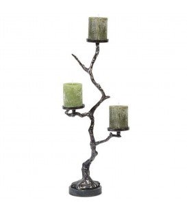 Pillar Holder in tree shape with Black Marble Base in Black Nickel