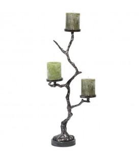 Support de pilier en forme d'arbre avec base en marbre noir de nickel noir