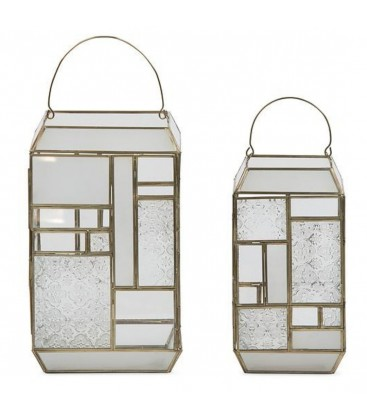 Lantern brushed brass with clear & printed windows large