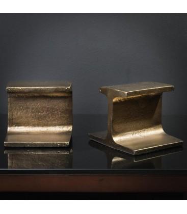 Paire de serre-livre IPN laiton antique