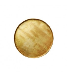 Plateau rond en métal doré