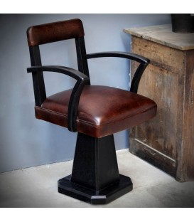 Hairdresser chair in solid black oak