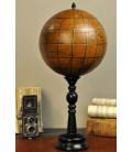 Globe en cuir sur pied bois