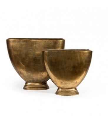 Vase ovale en métal gold antique
