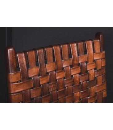 Chaise bois et cuir tressé
