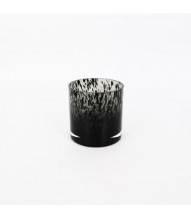 Vase en verre fumé avec taches noires