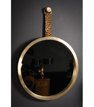 Miroir rond cadre laiton