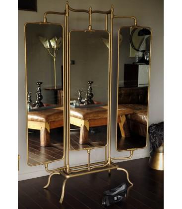 Miroir laiton 3 panneaux