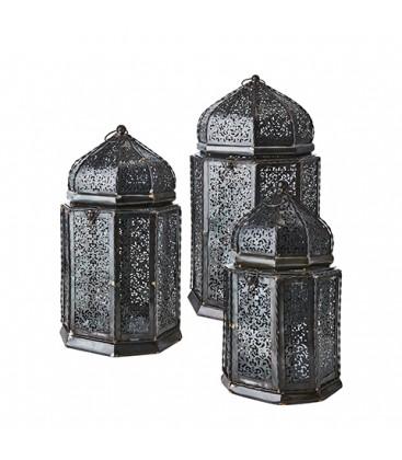 Set de 3 lanternes en metal ALADIN