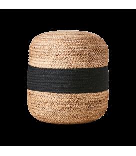Pouf bicolore a rayure nature et noir