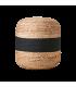 Pouf bicolore a rayure nature et noir tissé à la main