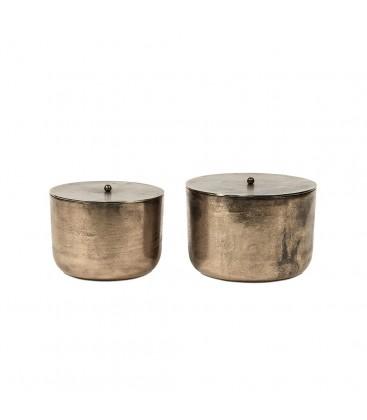 Duo de bougies exterieures dans pot en laiton