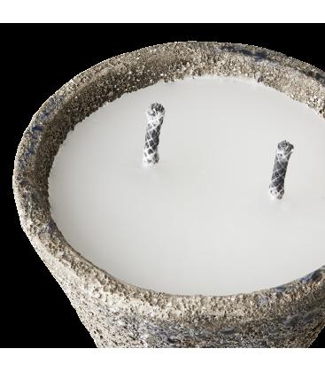 Grosse bougie exterieur dans pot gres