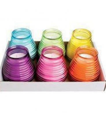 Bougie dans bol en verre coloré