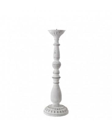 Bougeoir metal blanc H40 cm