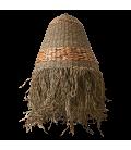 Straw shade with openwork fringe