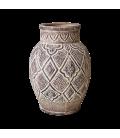 Vase terre cuite scultpé