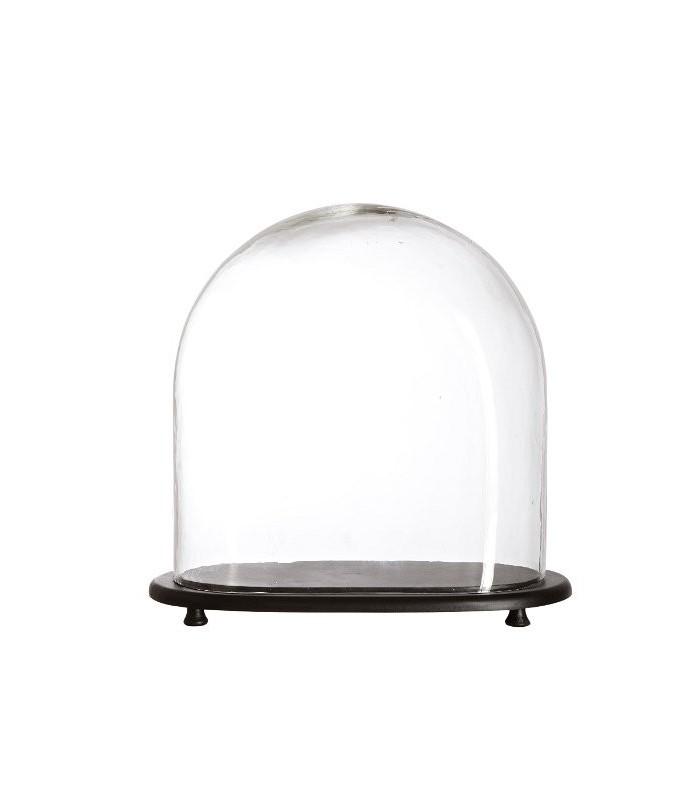 cloche en verre avec socle en verre. Black Bedroom Furniture Sets. Home Design Ideas