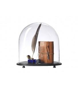 Cloche en verre avec socle en bois PACIFIC